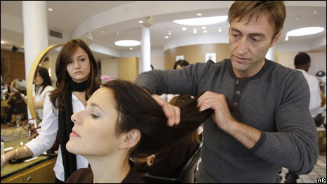 A hair stylist at work