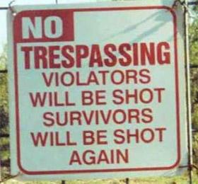 一处禁地围墙上的警示