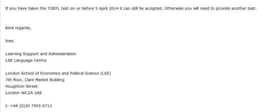 LSE的回复邮件截图