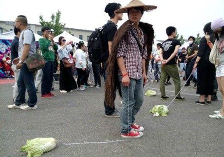 """行为艺术:北京迷笛音乐节""""遛白菜"""""""