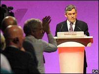 British Prime Minister Gordon Brown making his speech
