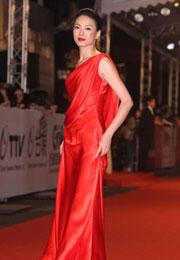 柯淑琴红裙抢镜