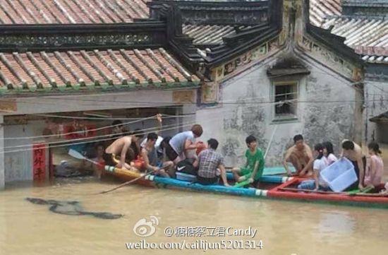 广东普宁水灾情景