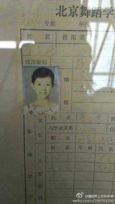 章子怡學生證