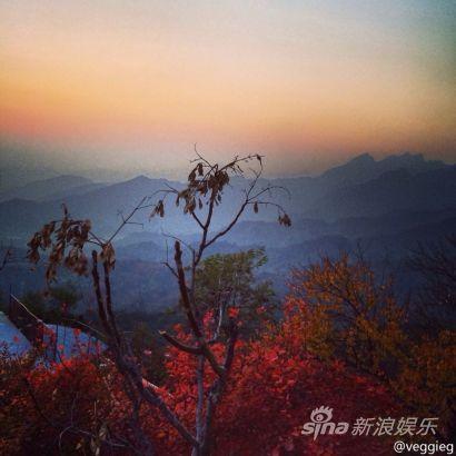 王菲游长城赏红叶