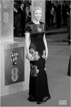 凯特・布兰切特选择Mc Queen流金绣花礼服裙,出席英国电影学院奖。