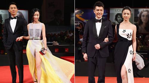 《黄金时代》剧组亮相 汤唯古典长裙优雅