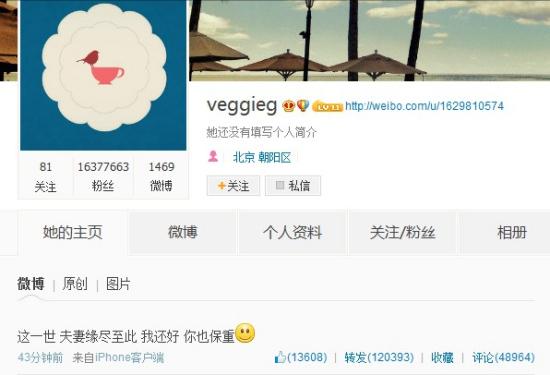 王菲微博截图