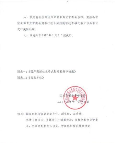 专资委票房补贴文件三(资料图片)