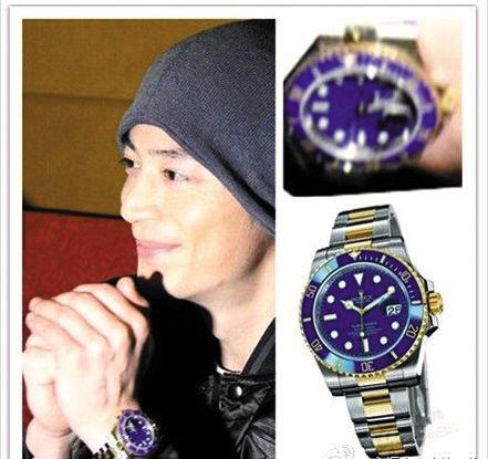 陈乔恩微博里出现的手表(上图)与霍建华戴过的疑似是同一款
