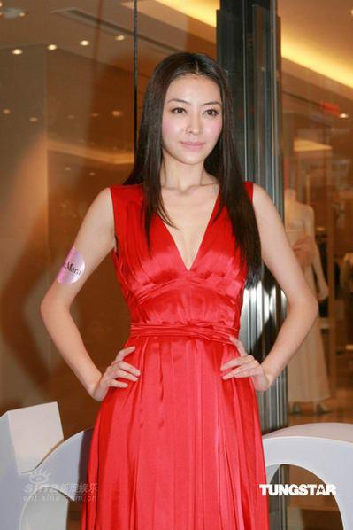 组图:刘嘉玲熊黛林比拼性感低胸礼服姿态撩人