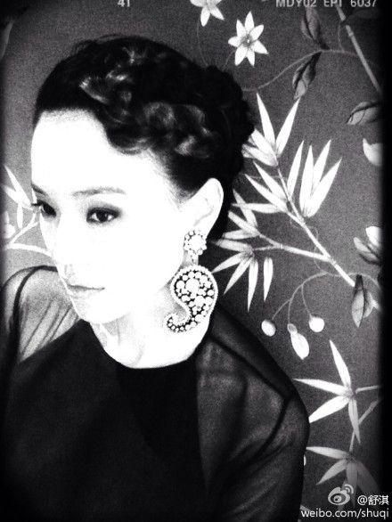 舒淇透视黑纱装复古发型美艳动人
