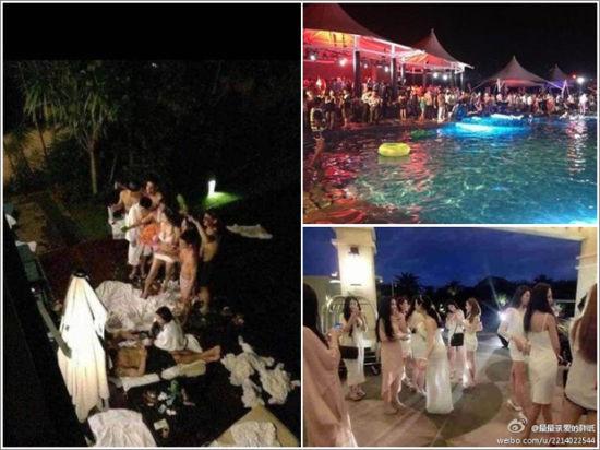 网友爆出的三亚海天盛宴现场图片,左侧为网传的聚众淫乱场景