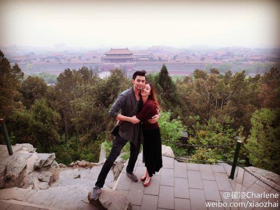 兽兽与老公在北京景山合影