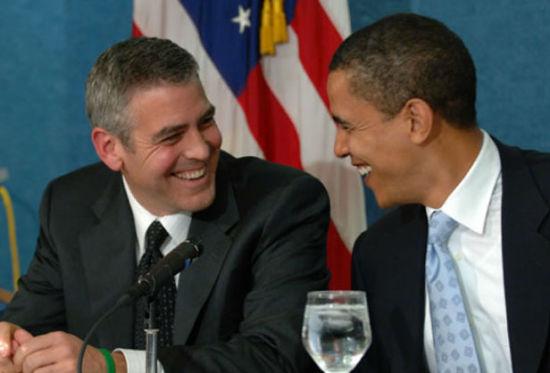 影帝克鲁尼一直是奥巴马的支持者,图为二人3月在白宫。