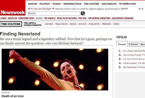 《新闻周刊》封面文章纪念杰克逊:寻找梦幻岛