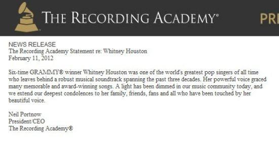 格莱美主办方录音学院发表官方声明悼念惠特尼-休斯顿