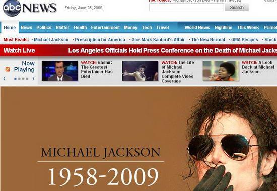 图文:各大媒体报道杰克逊逝世--ABC