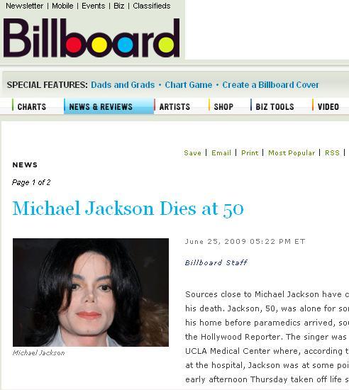 图文:各大媒体报道杰克逊逝世--公告牌