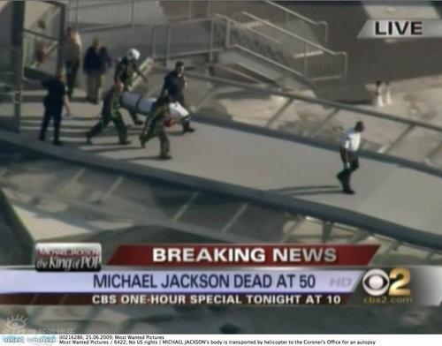 组图:杰克逊遗体由直升机运往洛县验尸所