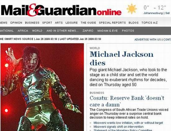 图文:各大媒体报道杰克逊逝世--邮卫报