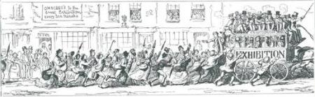1851年水晶宫世博会期间的排队赶车场景。
