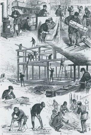 1876年,建造中的日本馆