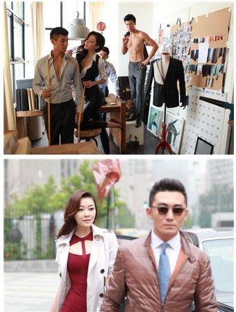 知名演员陈昊及其他几位模特身着金利来最新一季的外套西装等产品在