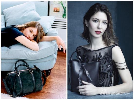 """左:科波拉和LV""""索菲亚-科波拉""""包款;右:科波拉为LV拍摄的2014春夏系列广告"""