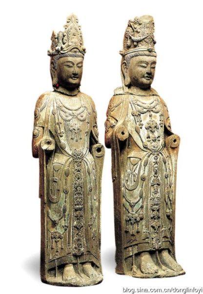 上海博物馆藏隋代观音势至石雕像