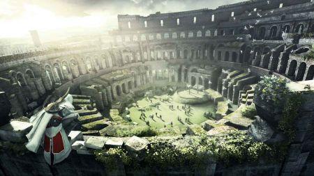 本作公布的第一张截图,蛰伏在罗马竞技场的Ezio