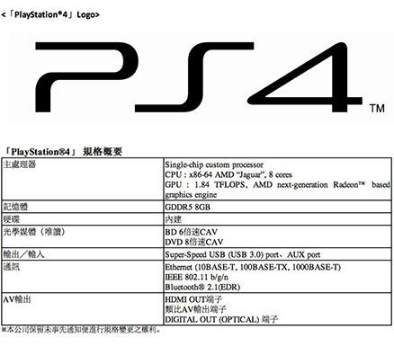 PS4主机参数