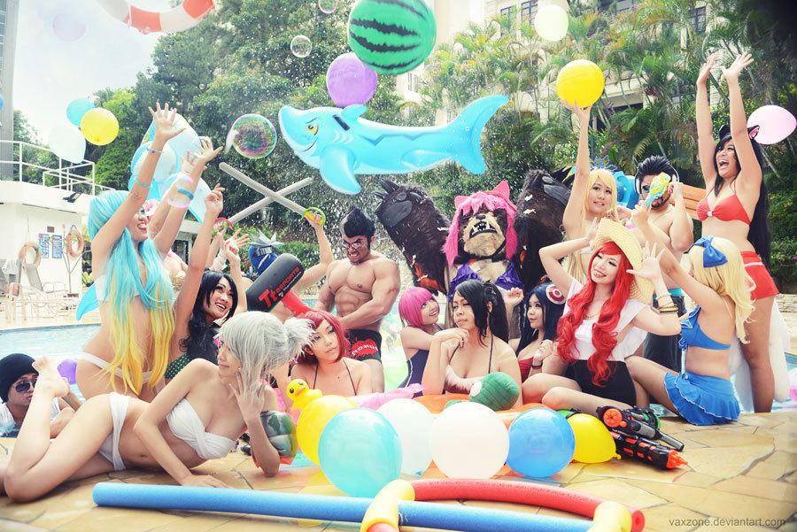"""英雄联盟""""泳池派对""""皮肤cosplay图集"""