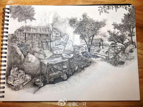 玩家用钢笔手绘《仙剑5前传》碧溪村
