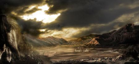 战争废墟场景漫画素材