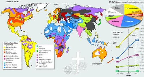 世界主要宗教分布地图图片
