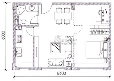 图为北回归线项目60平米一居室户型图图片