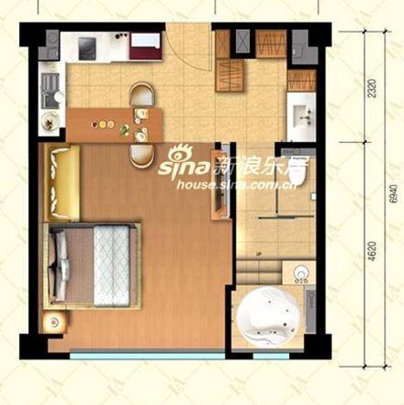 图为宜品上层项目一居室户型图
