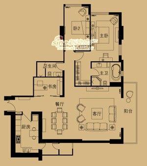 图为185.52平米二室二厅二卫户型图