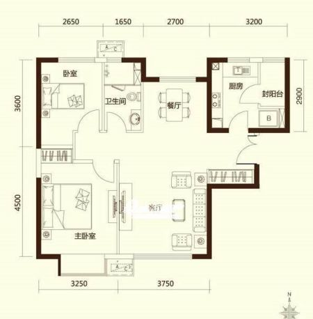 力又一城项目2居室户型图-朝阳富力又一城精装2 3居户型图详细看