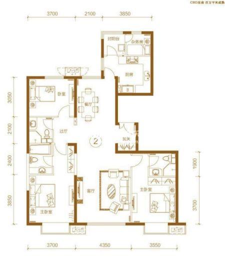 力又一城项目3居室户型图-朝阳富力又一城精装2 3居户型图详细看