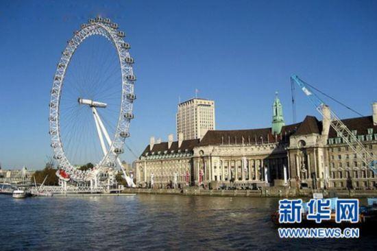 """英国首都伦敦著名的摩天轮""""伦敦眼""""."""