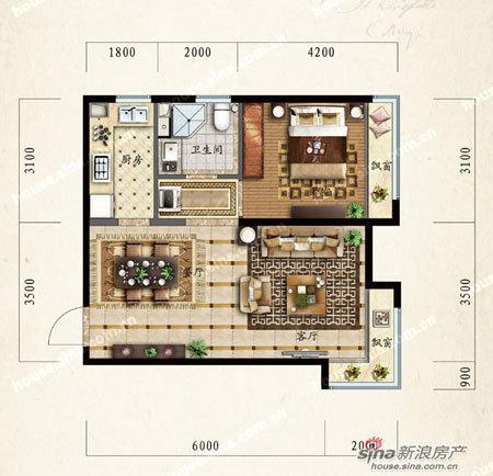 图为a户型一室两厅一卫户型图 60平米图片