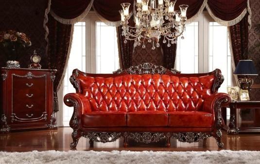 沙发面料采用头层牛皮,经过哑光处理之后愈发光亮,价值感十足.