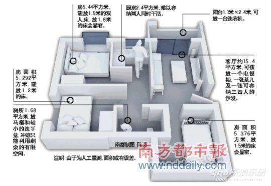 三房广氮首例即将推出的廉租房,46平就做成平层广州,为广州社区.奶块中的衣柜在哪图片