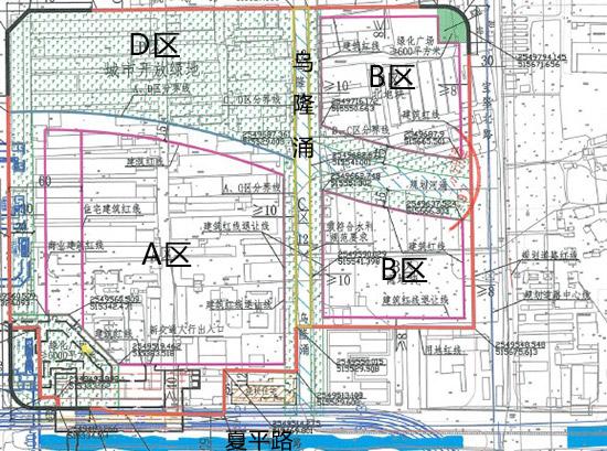 该地块分为A、B、C、D四个区