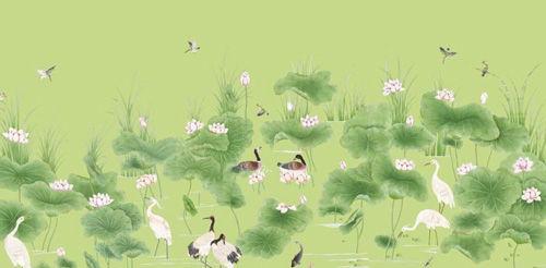 仙鹤莲花图手绘壁纸  小编点评:这款壁纸主题采用了仙鹤