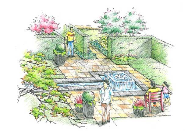 铺装主题园林手绘图