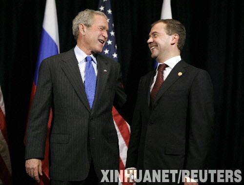 11 22, U.S. President George W. Bush (left) Russian President Dmitry Medvedev met in Lima, Peru. Xinhua News Agency Reuters