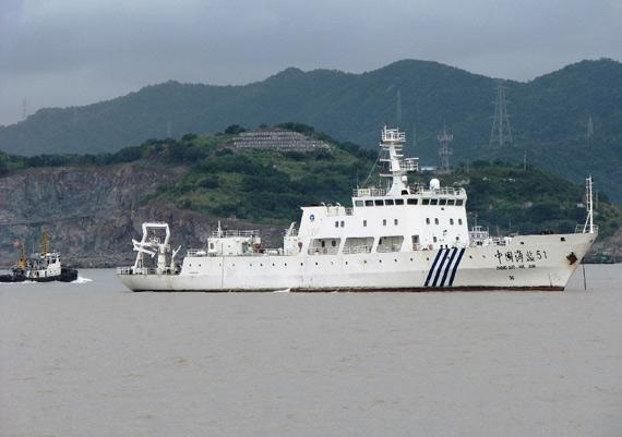 资料图:中国海监51号船执行海上执法任务